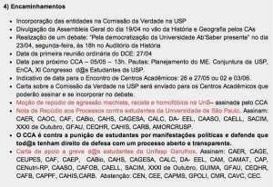 O texto da resolução, destacado em negrito, conforme aparece na página do DCE na Internet (http://www.dceusp.org.br/2012/04/relatoria-da-reuniao-do-cca-14042012/)