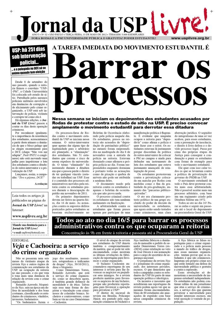 Jornal da USP Livre! nº52 - 15/5/2012