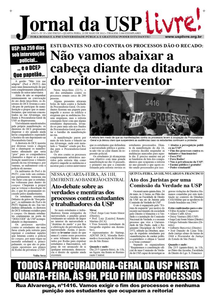 Jornal da USP Livre! nº55 - 23/5/2012