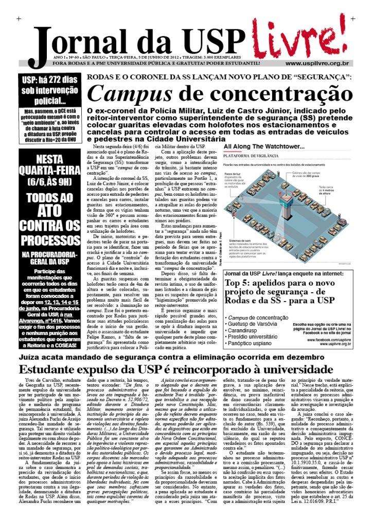 Jornal da USP Livre! nº60 - 5/6/2012