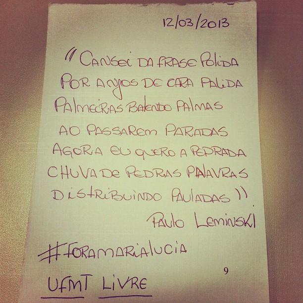 UFMT Livre! Fora Maria Lúcia!