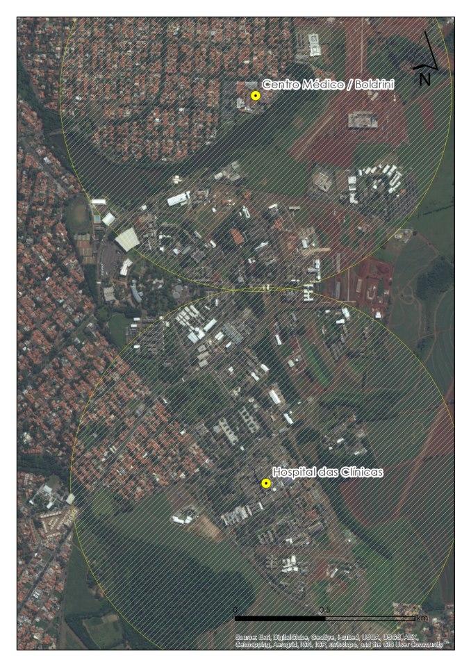 Foto aéreda que mostra área próxima  a Unicamp onde estão proibidas as manifestações e protestos.
